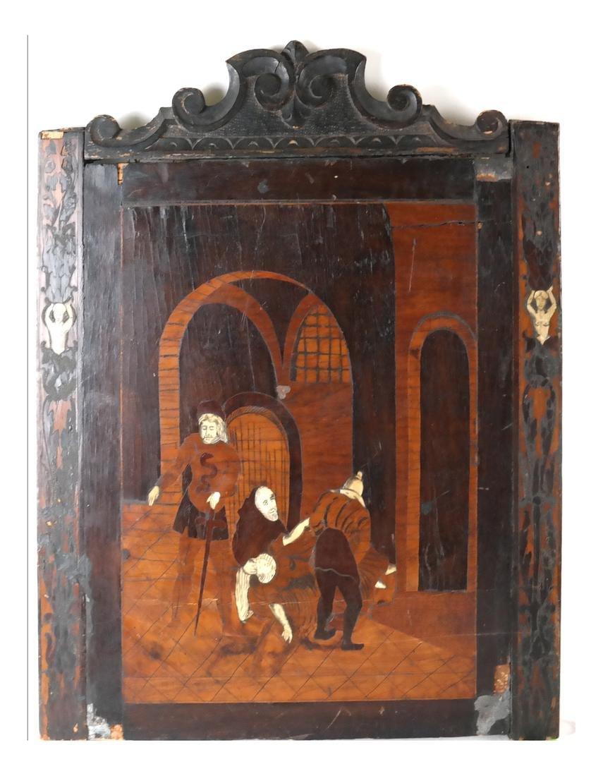Antique Inlaid Wood Panel