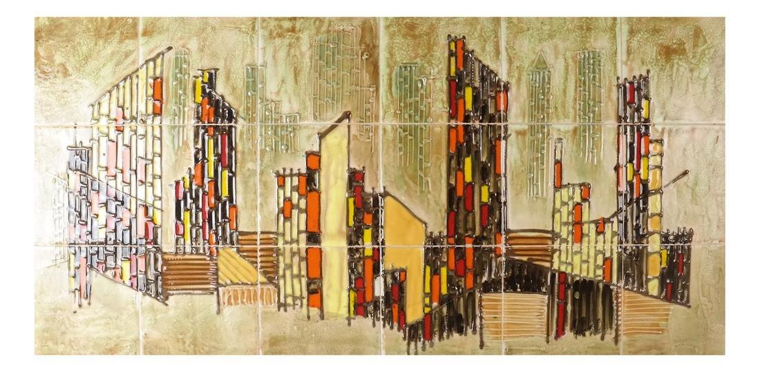 Framed City Scene of Tiles