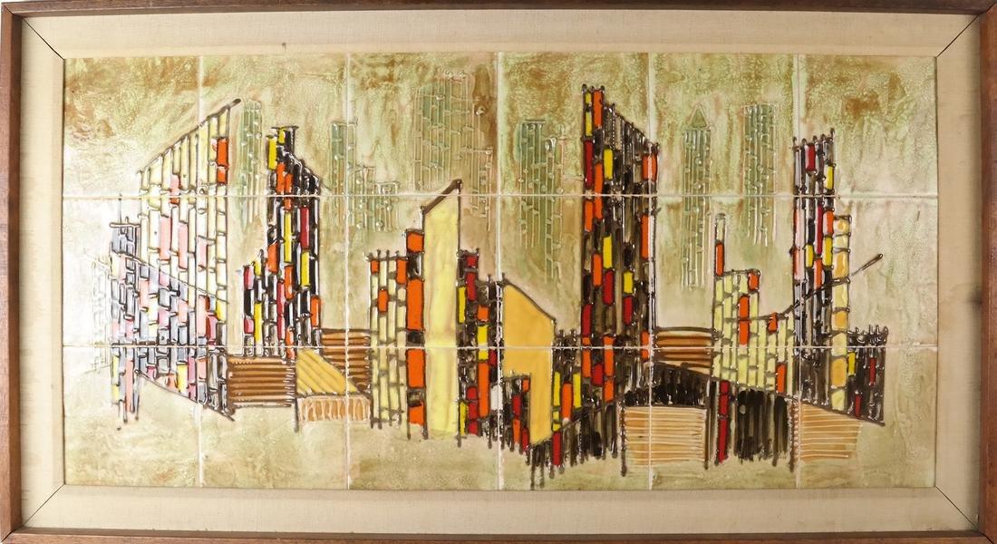Framed City Scene of Tiles - 2