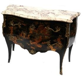 Chinoiserie Decorated Marble Top Commode