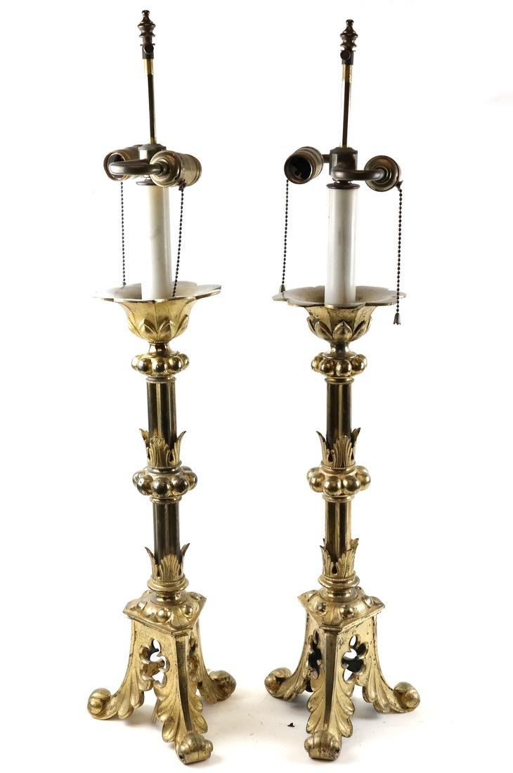 Pair of Ornate Brass Lamps