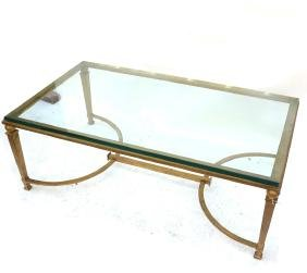 Mid-Century Modern Gilt Steel Glass Top Coffee Table
