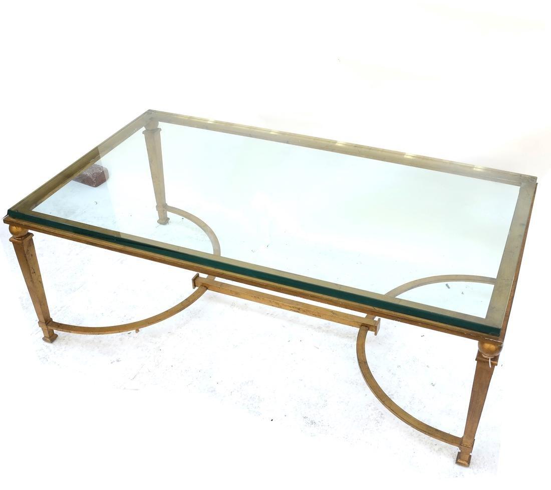 Mid-Century Modern Gilt Steel Glass Top Coffee Table