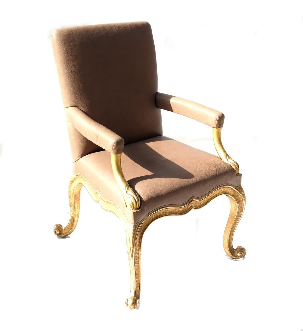 French Leather Upholstered Armchair