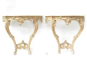 Pair of Rococo French-Style Wall Consoles