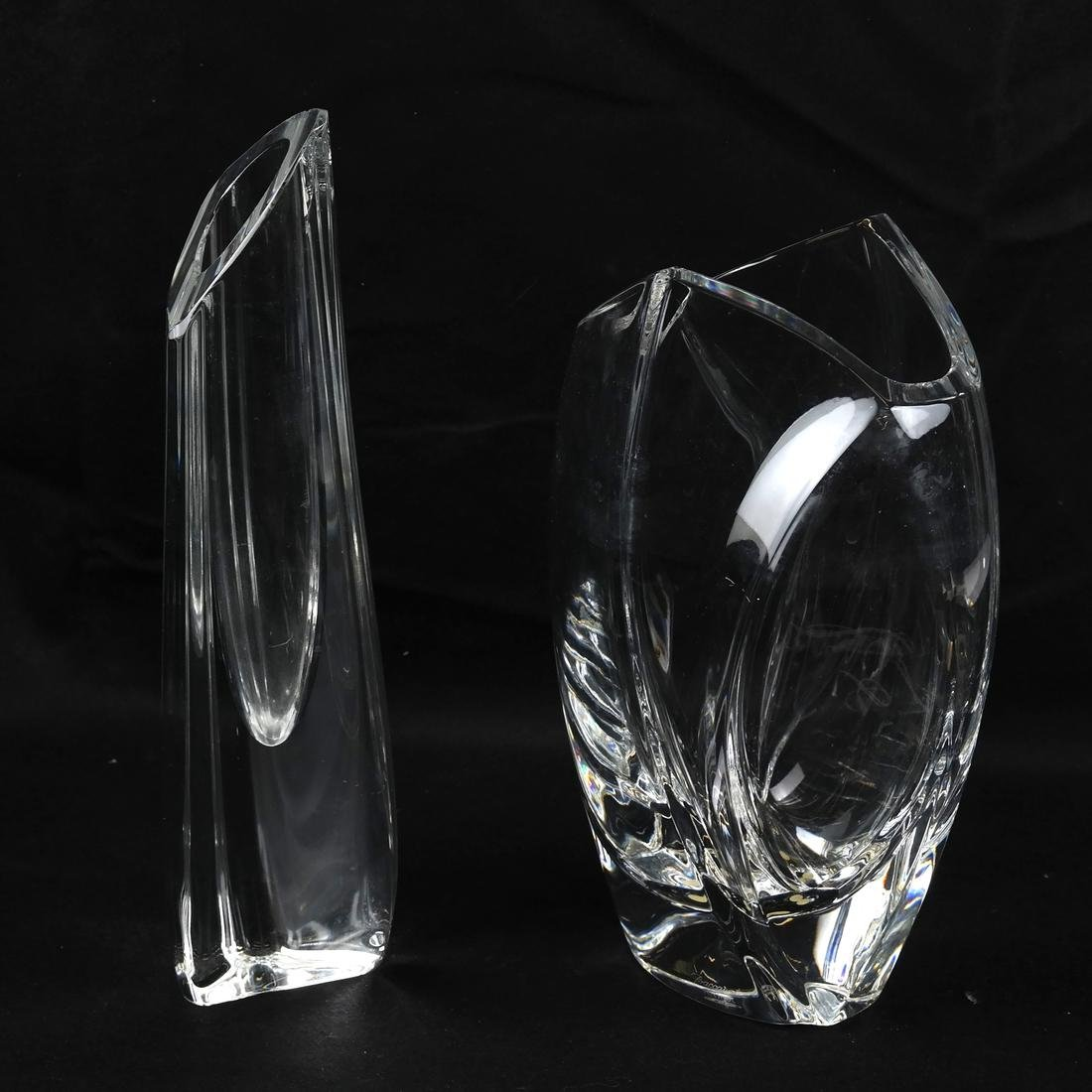 Two Baccarat Clear Glass Vases