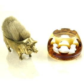 Pig-Form Pen Brush and a Baccarat Paperweight
