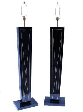 Pair of Modern Black Floor Lamps