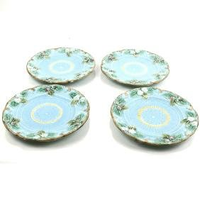 Four French Majolica Plates