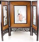 Japanese Porcelain  Wood Table Screen