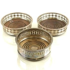 3 Similar Silver-Plated Wine Coasters
