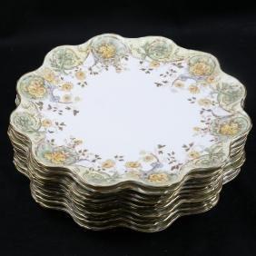 10 English Porcelain Dessert Plates