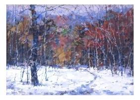 Winter Landscape - Oil On Board