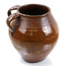 Redware Pottery Vessel with 2 Handles
