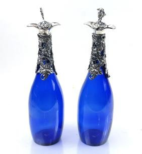 Pair of Cobalt Glass Mounted Decanters