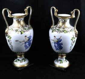 Pair of Duplicate Porcelain Urns