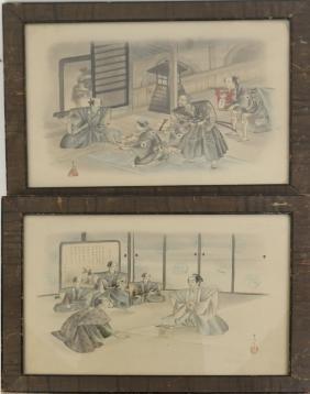 Pair of Japanese Watercolors