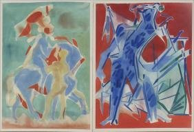 Carl Holty, Two Figural Watercolors