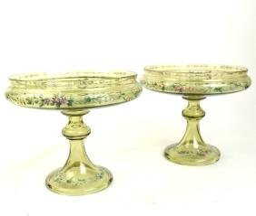 Pair of Moser-Style Glass Compotes