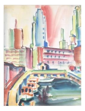 New York City Scene, Watercolor