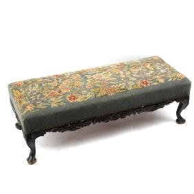 Louis XV-Style Needlepoint Low Bench