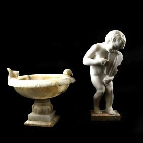 2-Piece Marble Birdbath, and a Cherub