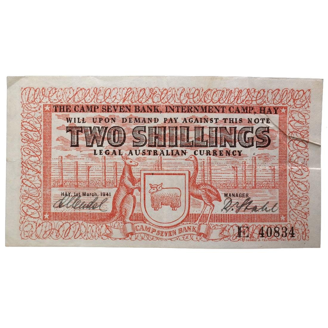 HAY AUSTRALIA WWII INTERNMENT CAMP TWO SHILLINGS NOTE