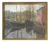 Harbor Scene Oil on Artist Board