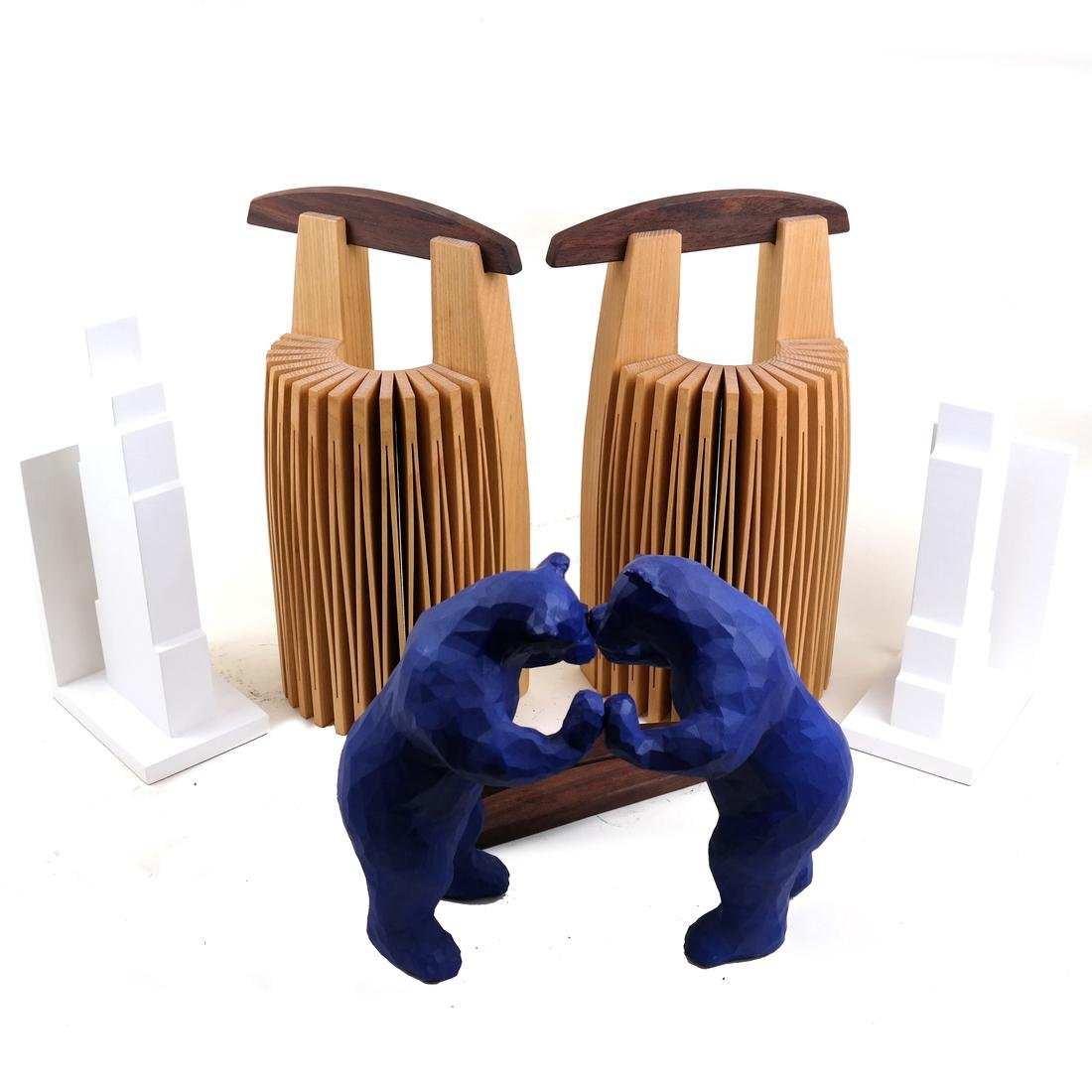Contemporary Bookends and Sculptures