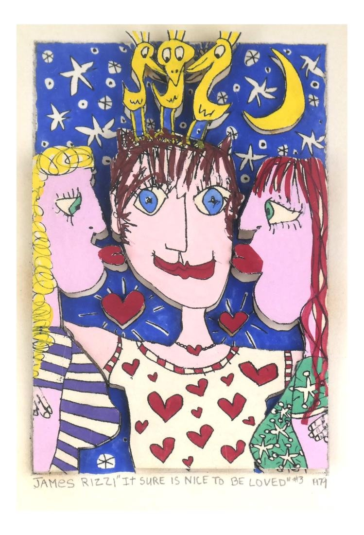 "James Rizzi , ""...Nice To Be Loved"" - Mixed Media"