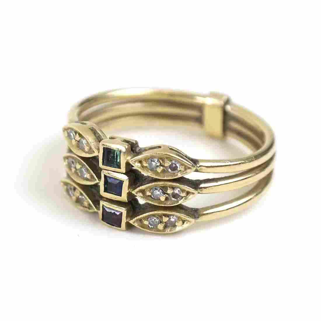 18K Yellow Gold, Diamond and Jeweled Ring