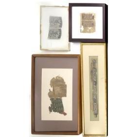 Four Framed Coptic Textile Fragments