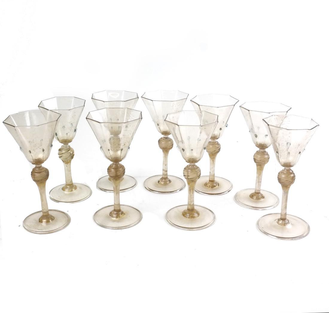 Set of Nine Venetian Glass Aperitifs
