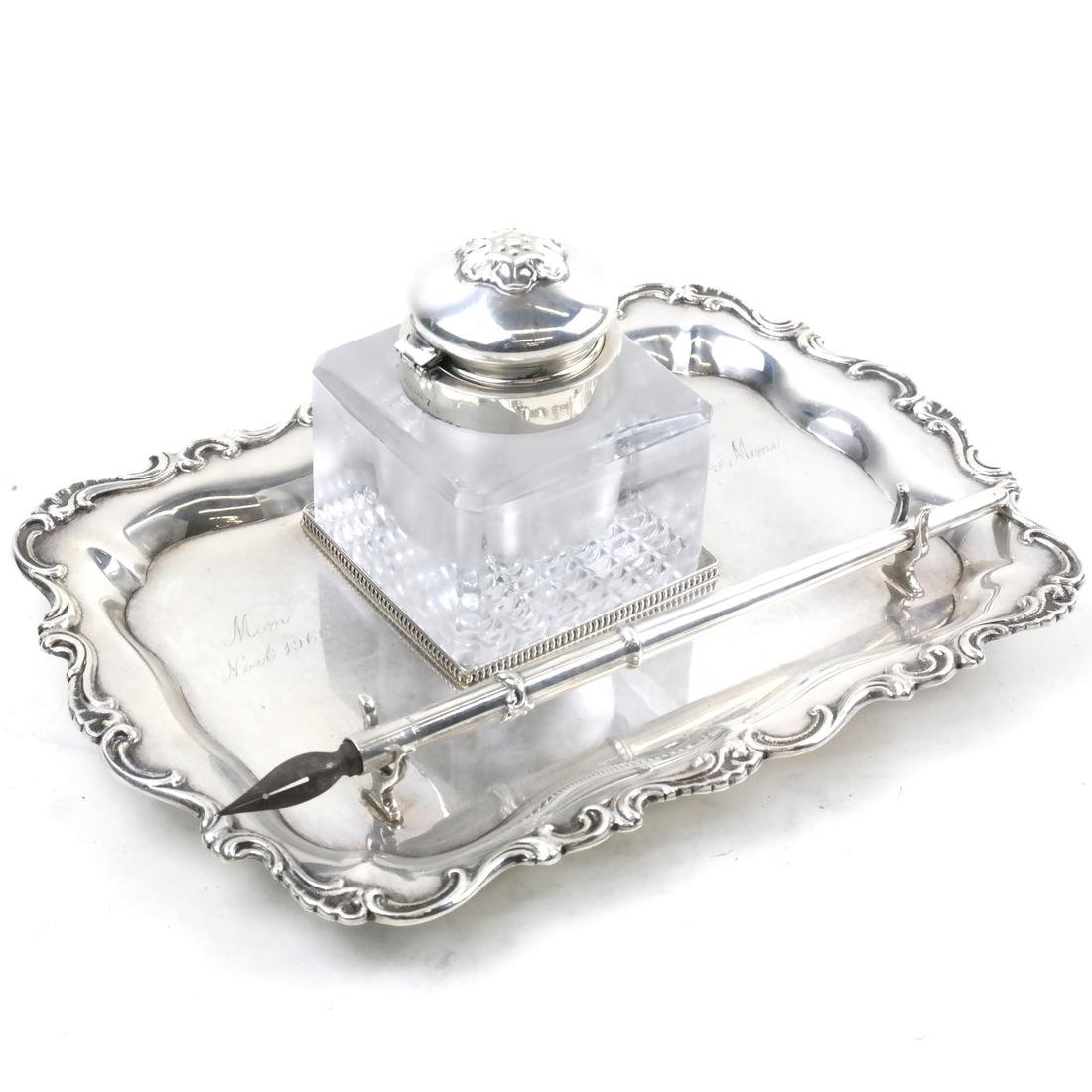 American Sterling and Glass Inkstand with Pen