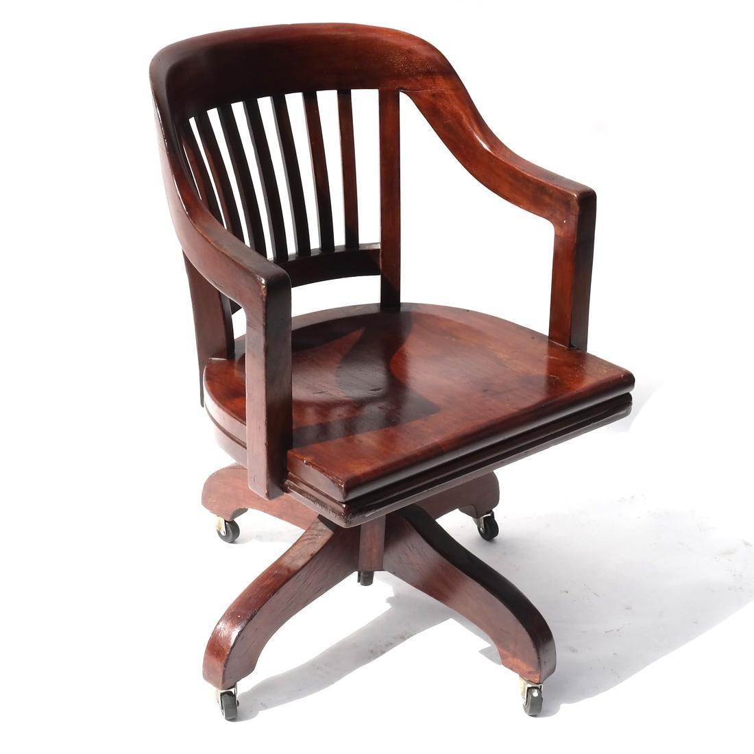 Stained Oak Office Swivel Chair