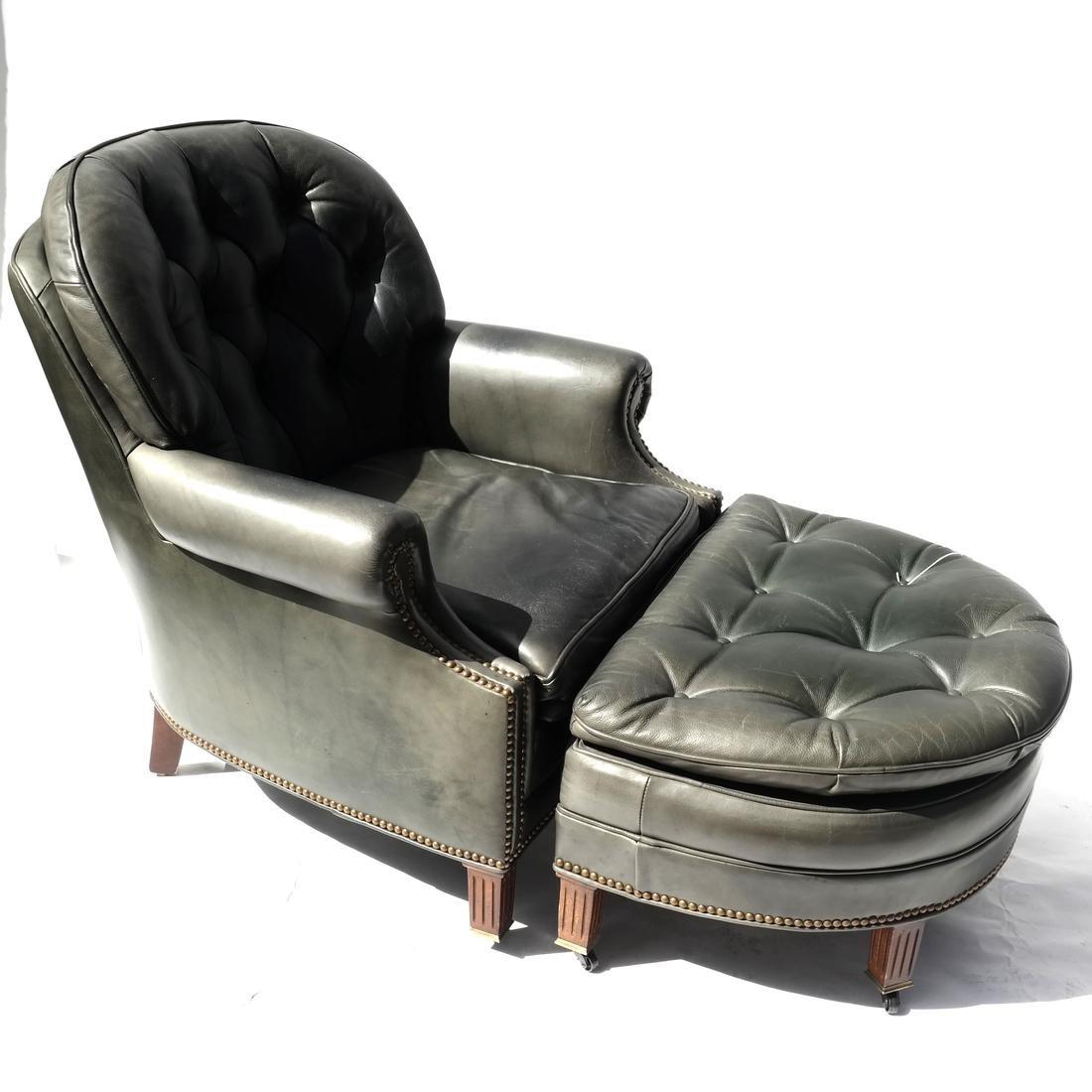 Edwardian-Style Armchair and Ottoman