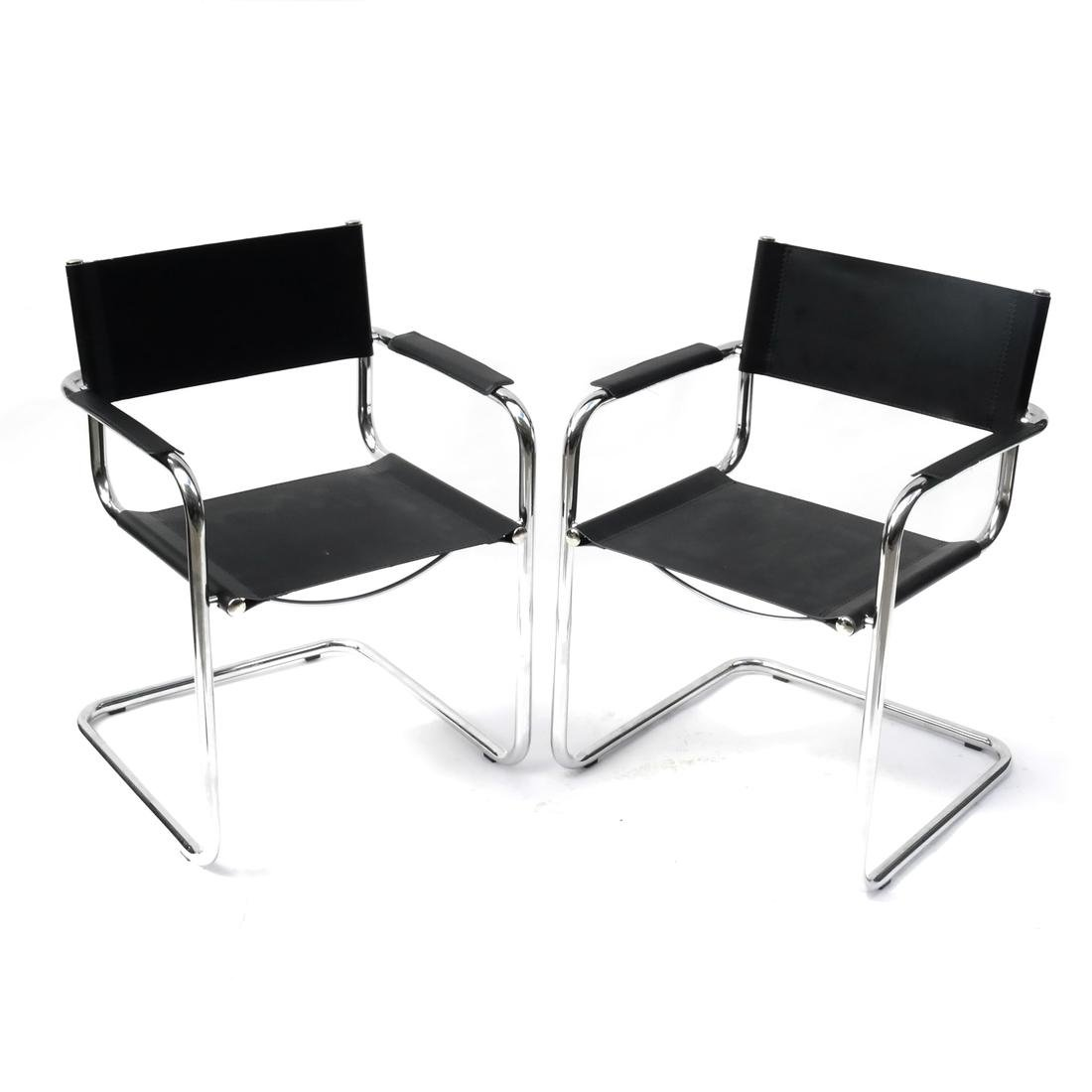 Pair of Modern Chrome Armchairs