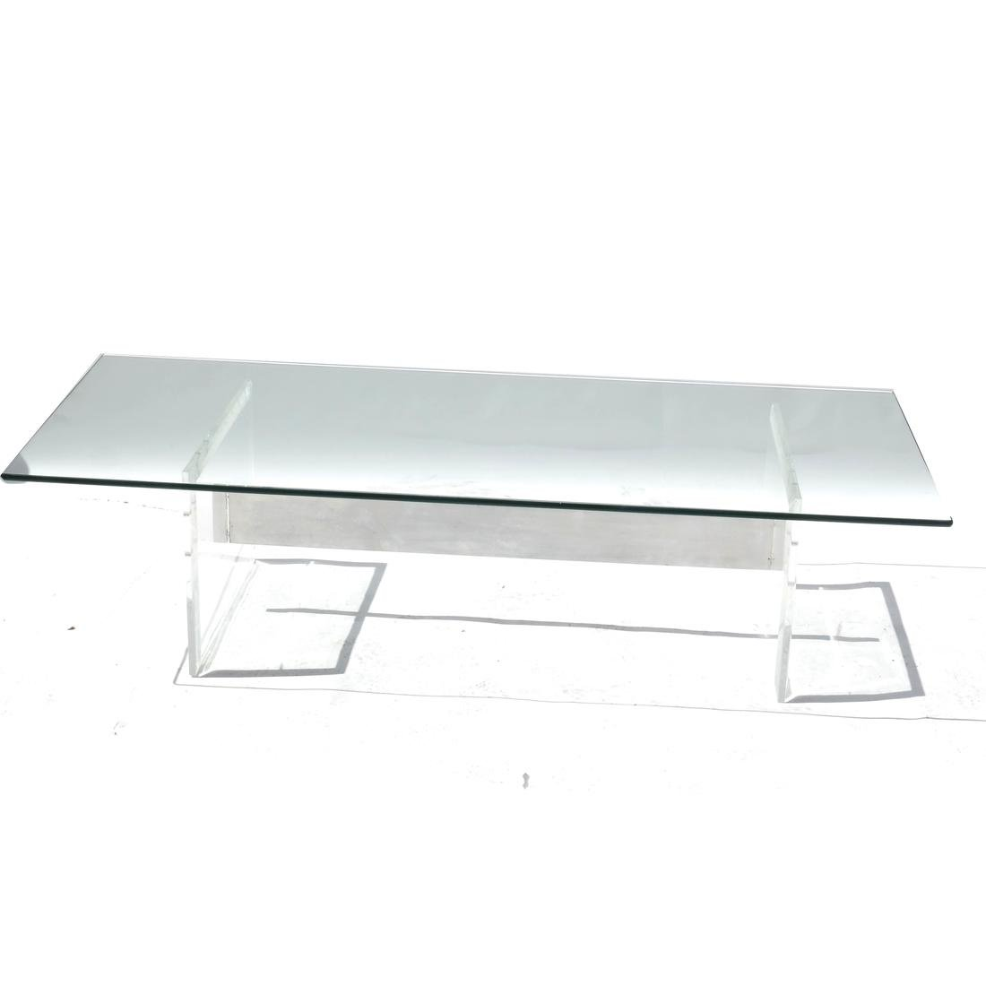 Lucite and Glass Cocktail Table