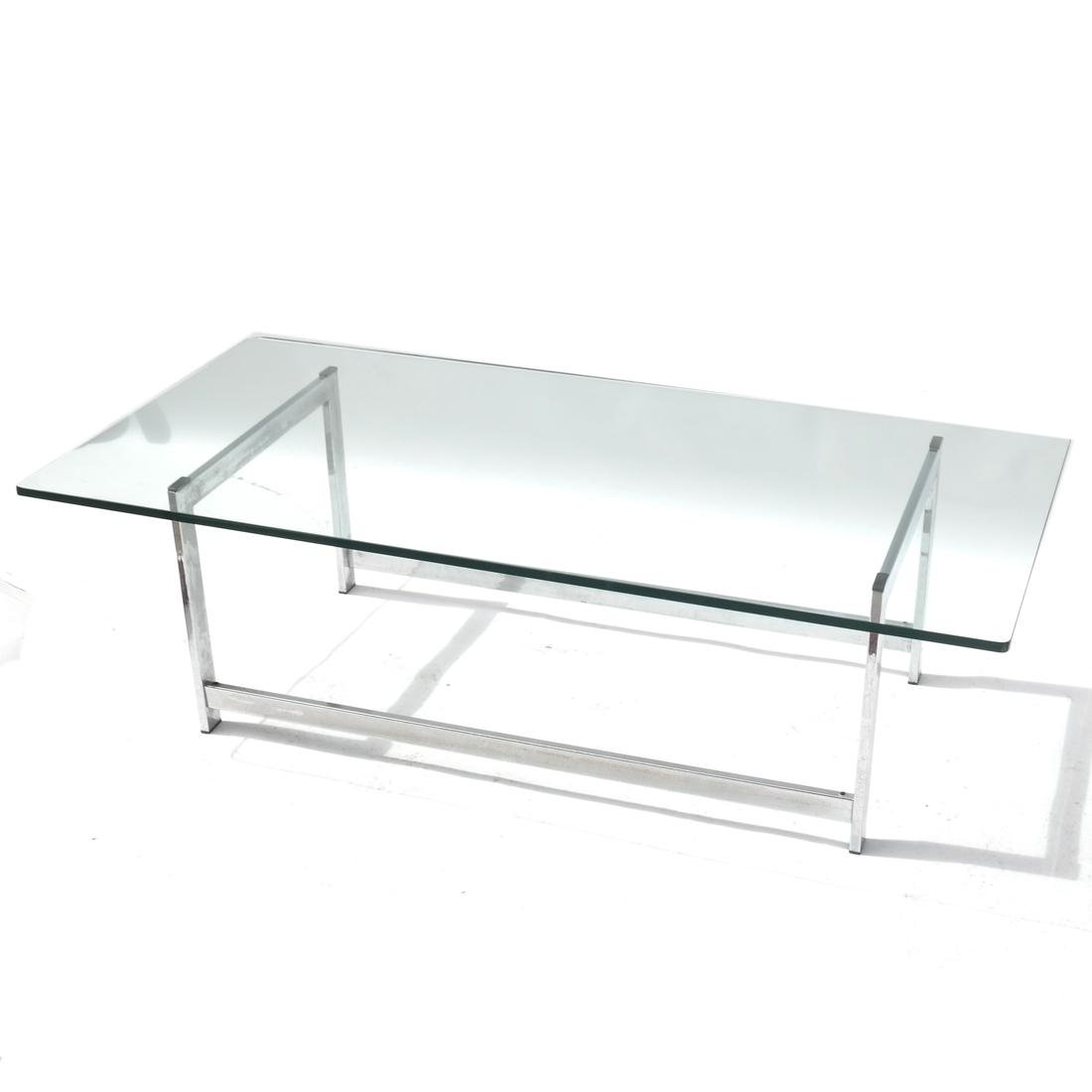 Modern Chrome and Glass Cocktail Table