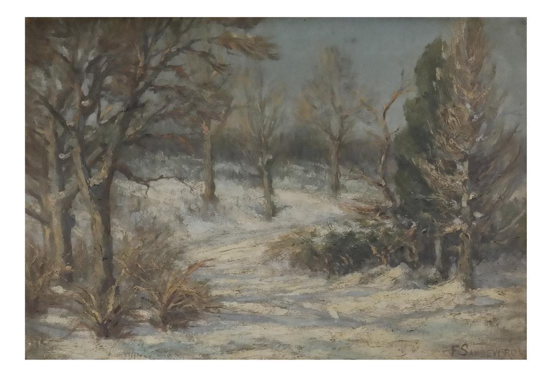 S. Sansevero, Winter Landscape Scene - Oil On Canvas