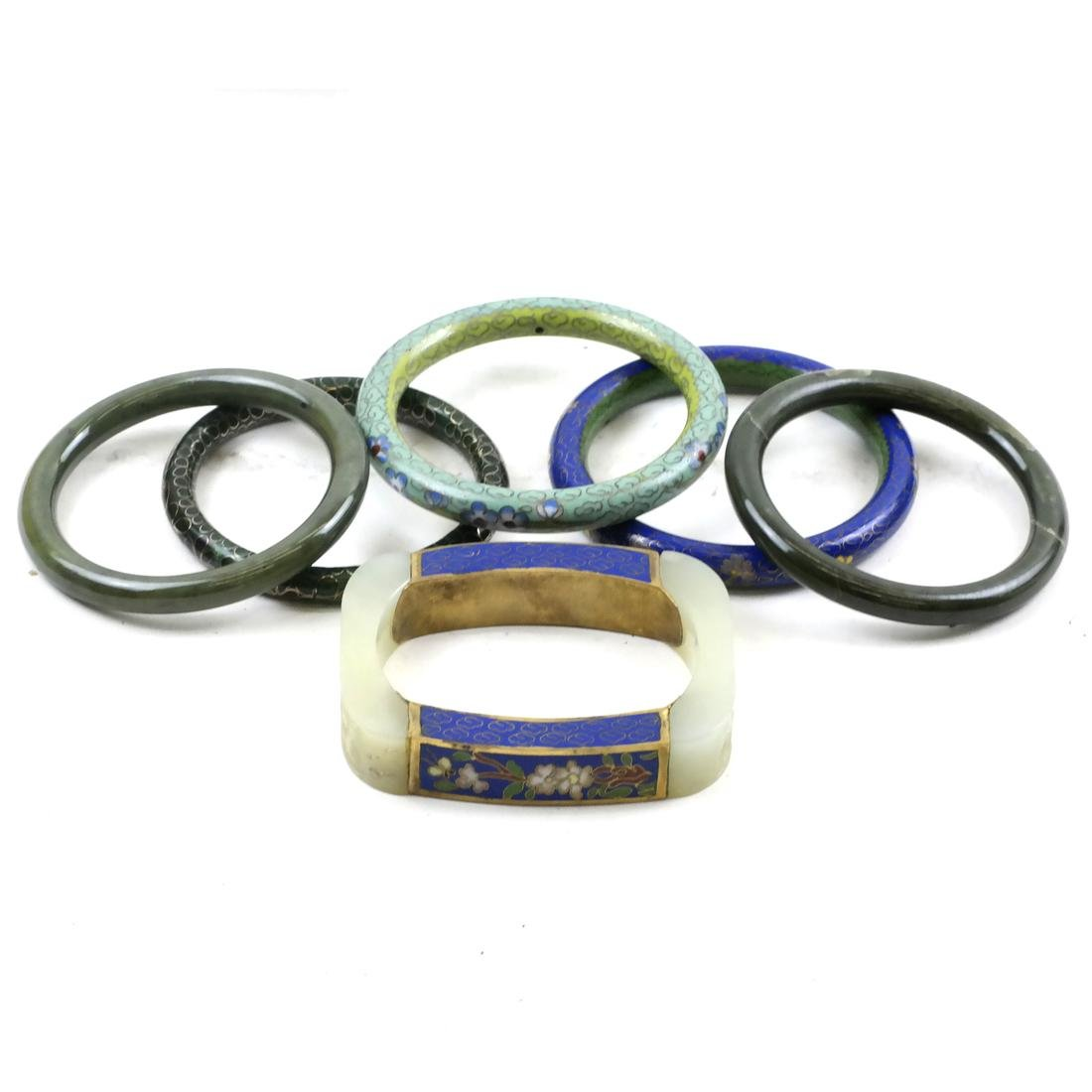 Six Asian Various Bangle Bracelets