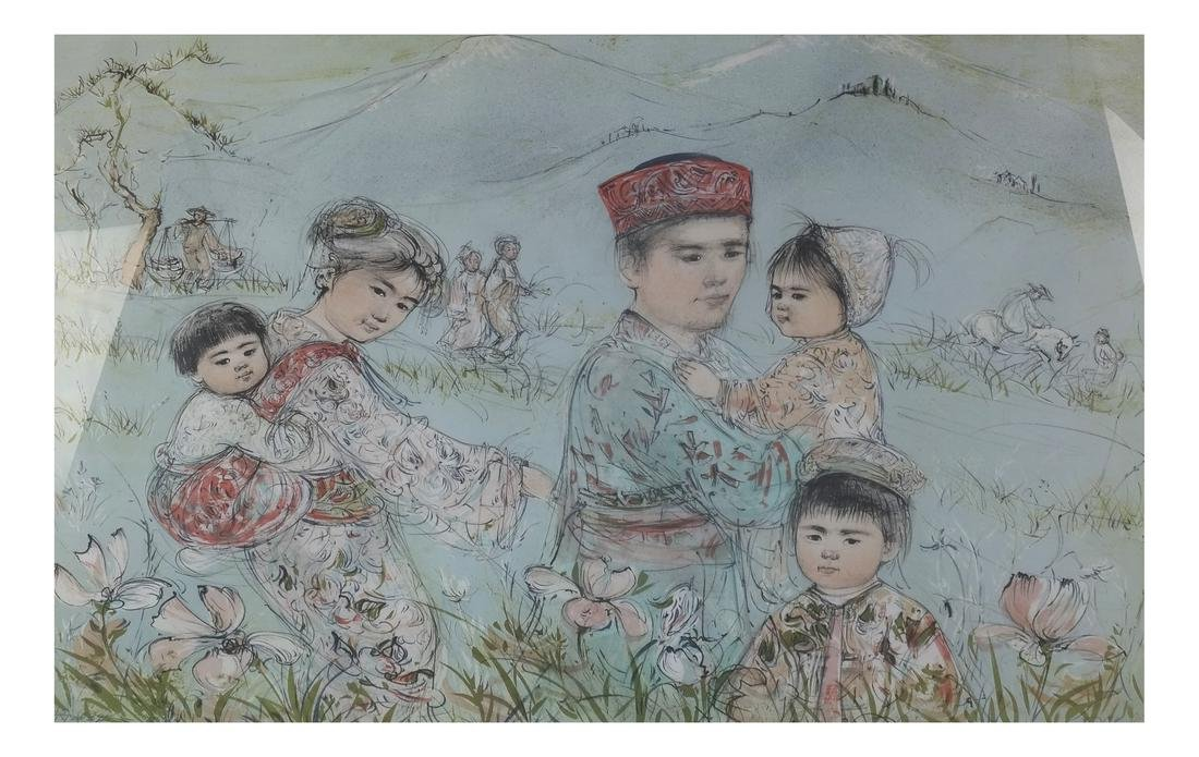 Edna Hibel, Asian Family Portrait - Lithograph