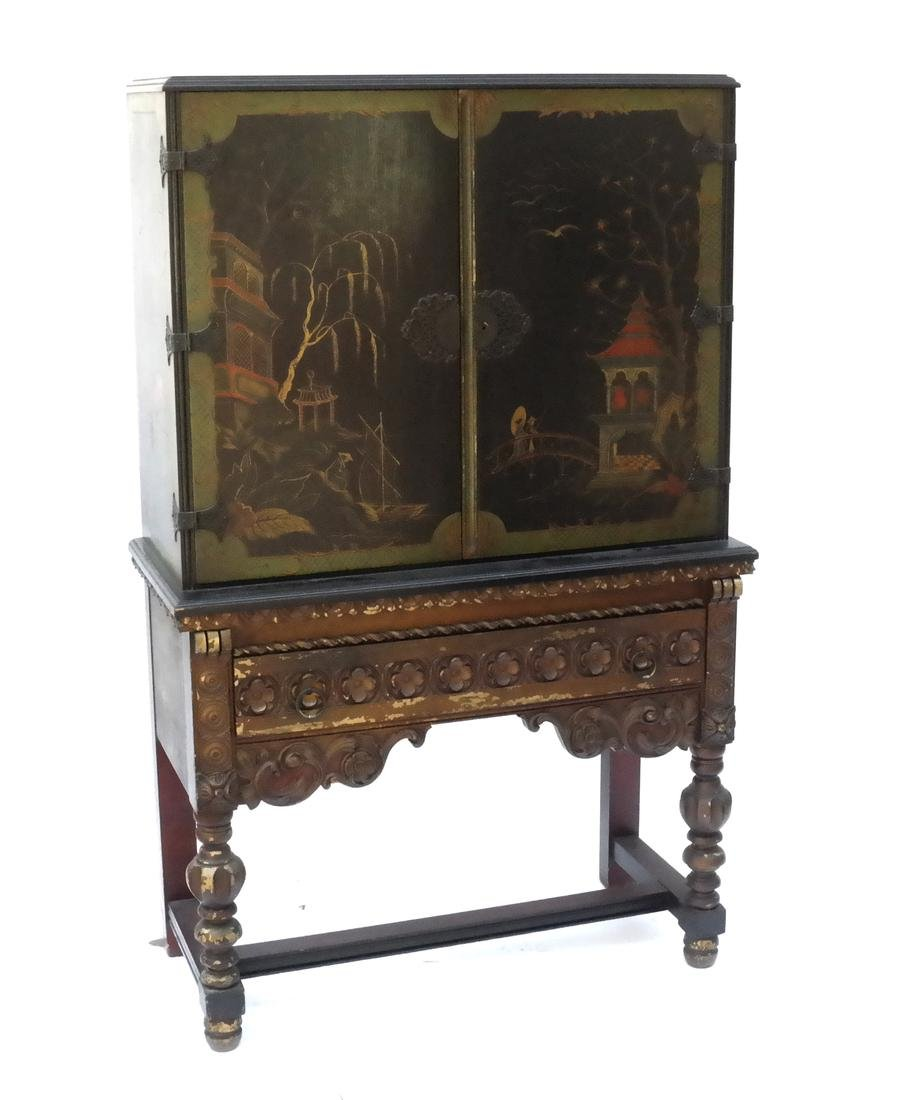 Chinoiserie Decorated Chest on Stand