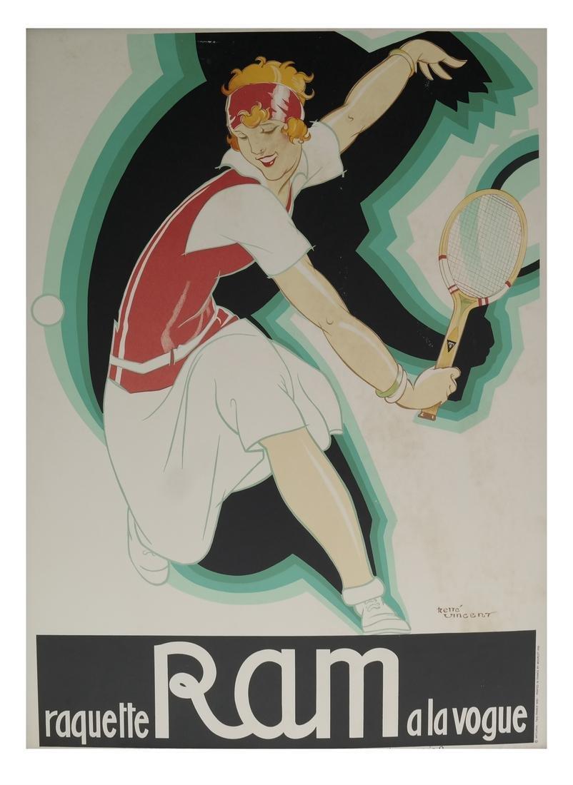 """After Rene Vincent, """"Raquette Ram a la Vogue"""" Poster"""