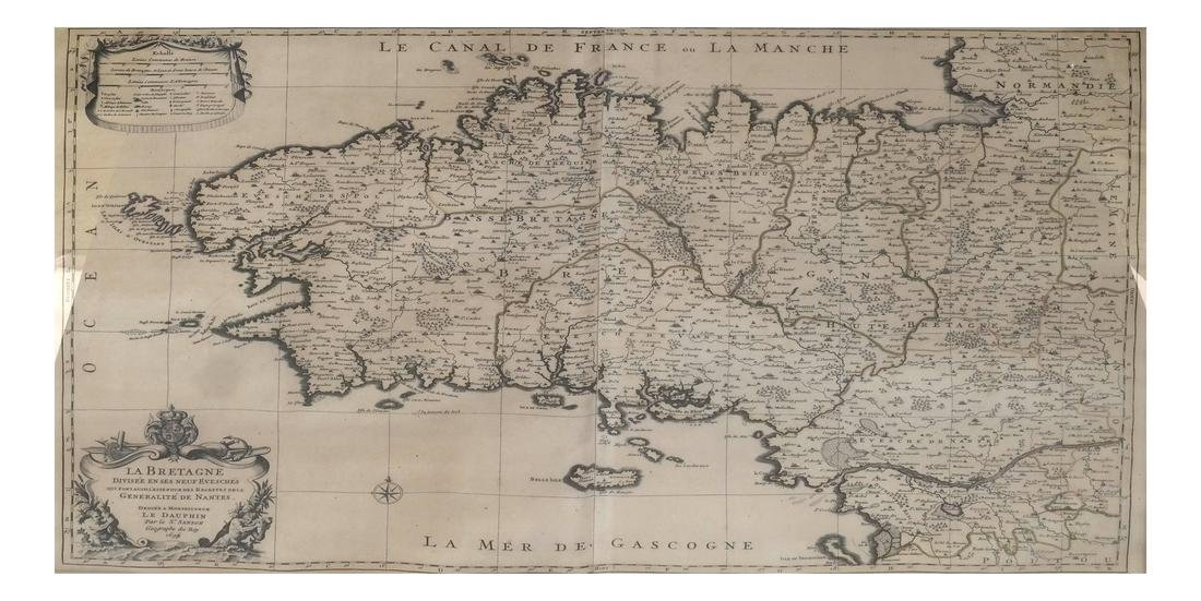Nicholas Sanson Antique Map of Brittany, France