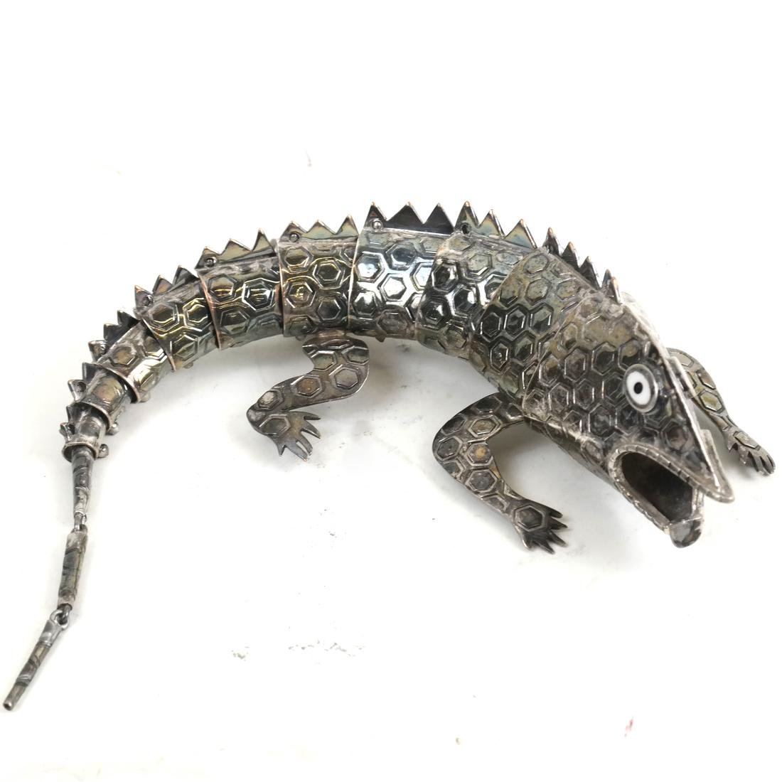 Mexican Silver-Plated Stylized Lizard Figure