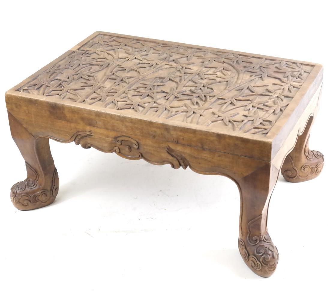 Southeast Asian Carved Hardwood Rectangular Low Stool