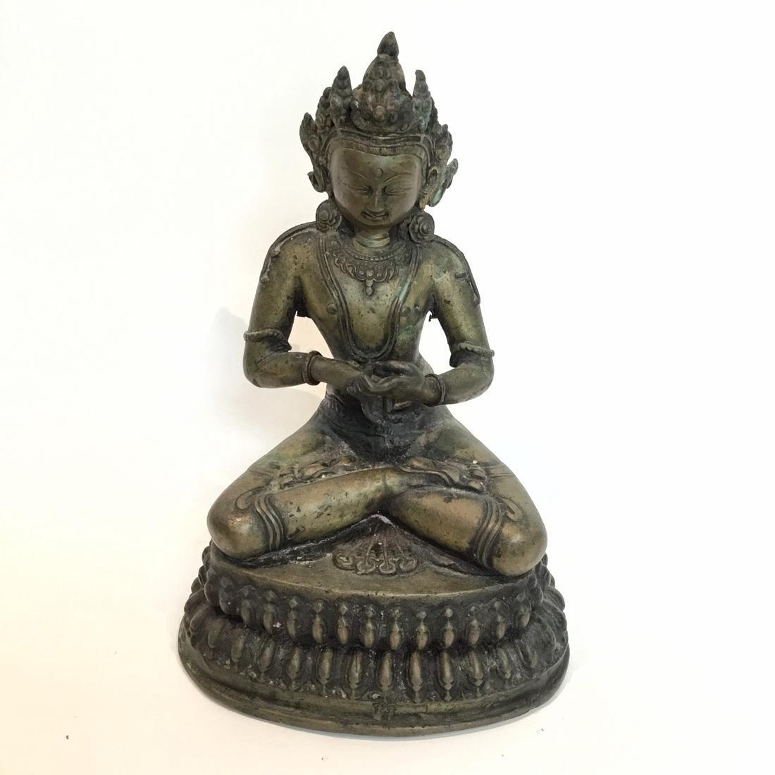Old Asian Bronze Bodhisattva Statue