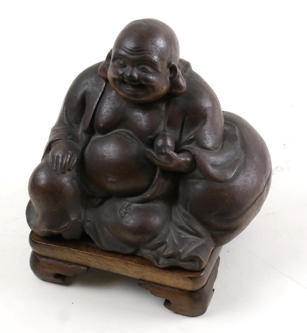 Asian Figure of Buddha on Wood Base
