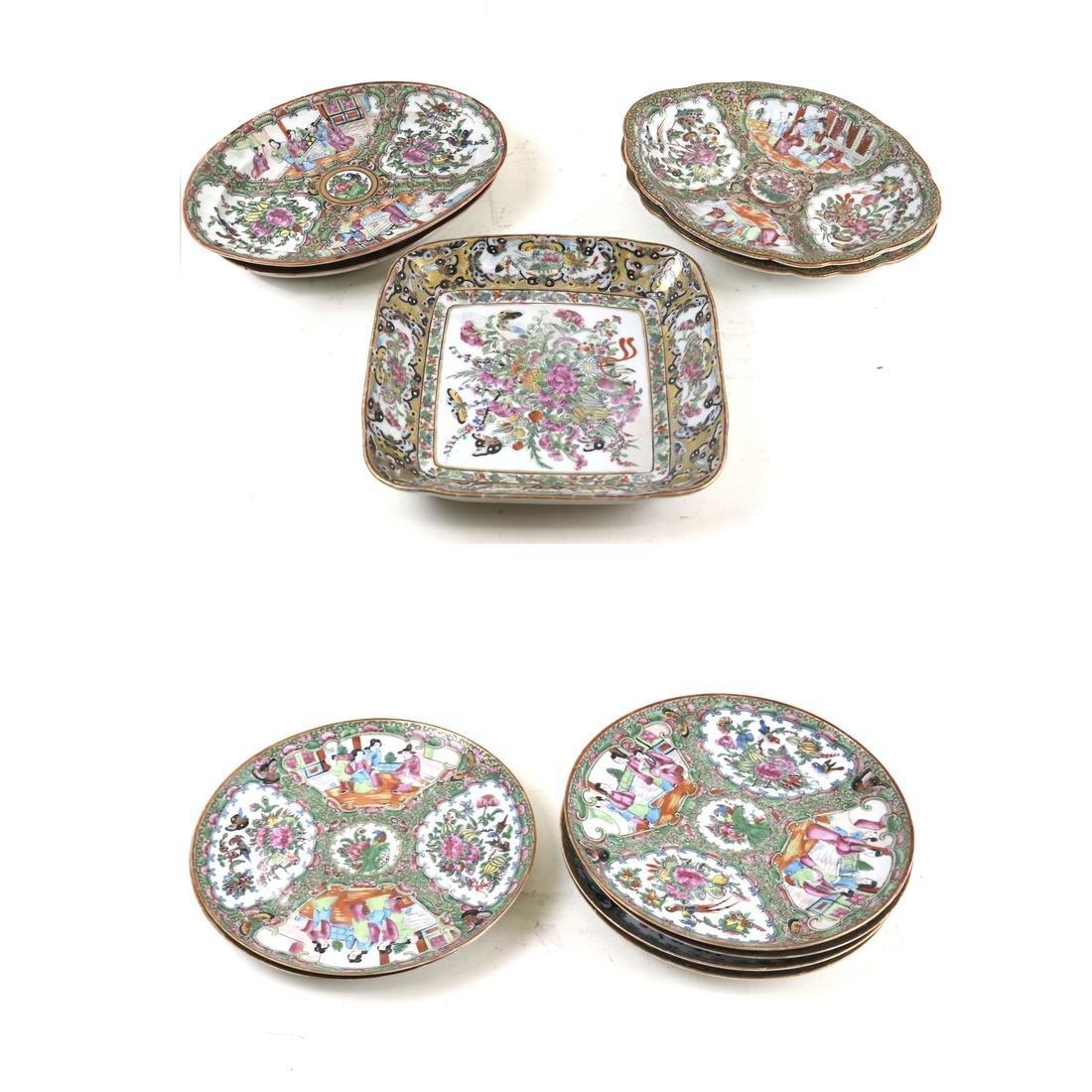 11 Chinese Export Rose Medallion Porcelain Dishes